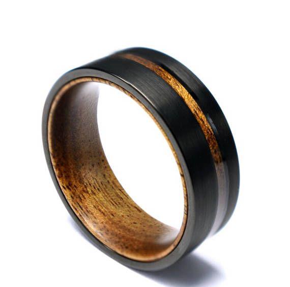Koa Wood Brushed Black Tungsten Mens Wedding Band 8mm ...