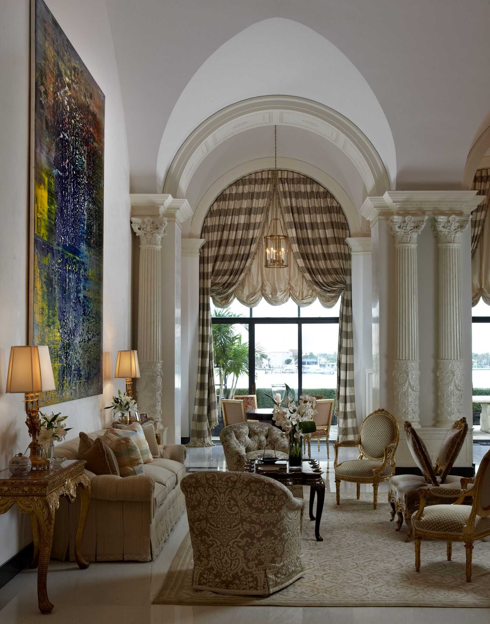Windows For Family Room; I Want The Draperies To Tie Back At The Hem Of The  Scalloped Balloon Shades Scott Snyder Interior Design   Palm Beach, FL