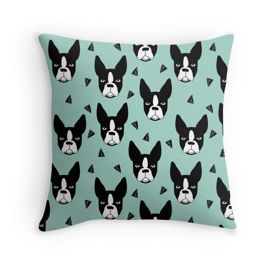 Boston Terrier Mint' Throw Pillow by