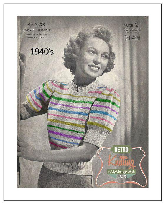Vintage 1940s knitting pattern-how to make a rainbow stripe jacket cardigan