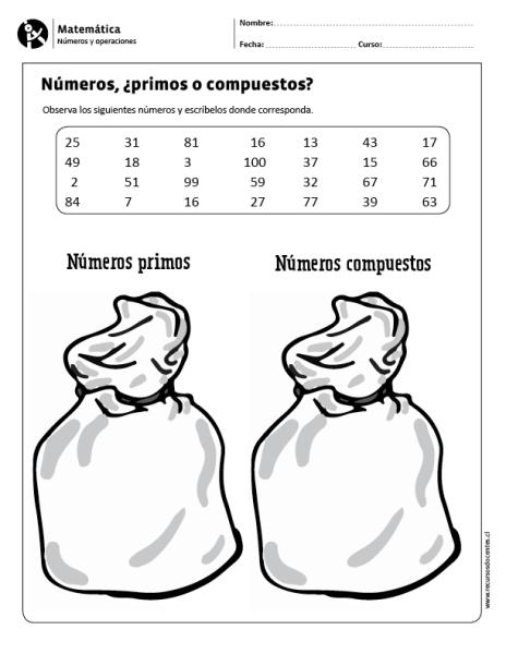 Factores Números Primos Y Números Compuestos Números Primos Matematicas Fracciones Y Divisibilidad