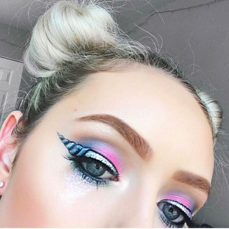 einhorn eyeliner rosa blau make up damen carnival. Black Bedroom Furniture Sets. Home Design Ideas
