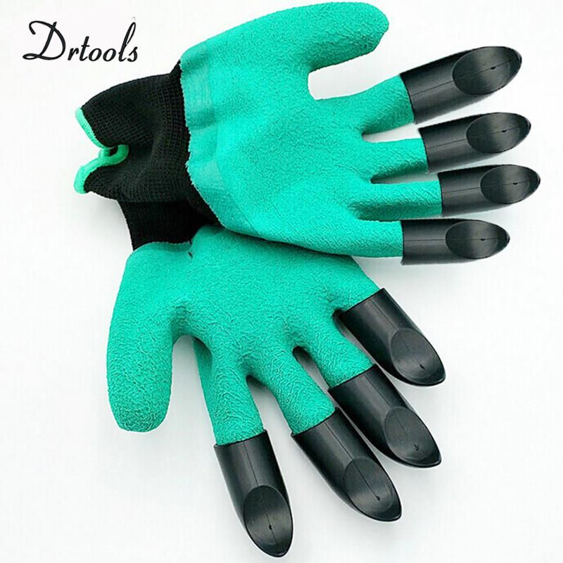 Rubber Polyester Gardening Gloves 4 Abs 2 Plastic Claws Safety