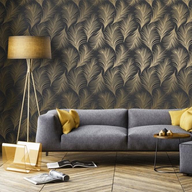 Holden Metallic Feather Pattern Black Gold Wallpaper Leaf Motif Modern Textured Exclusive Patterned Wallpaper Bedroom Wall Texture Design Home Wallpaper