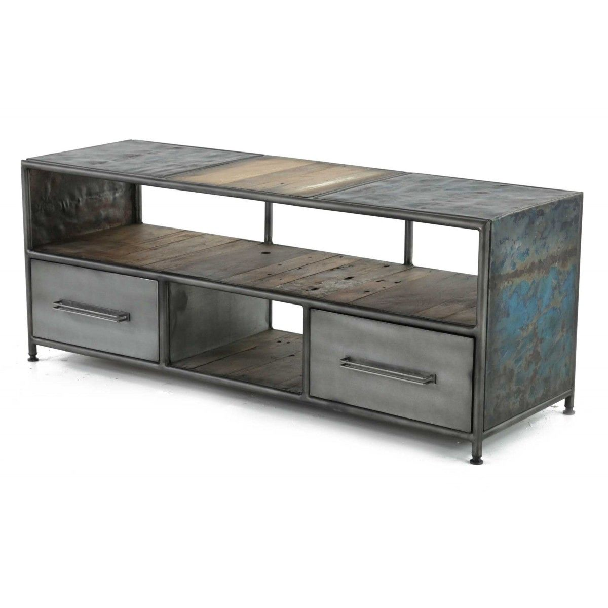 579 meuble tv teck 140 x 45 cm 2 tiroirs 2 niches klo - Meuble Tv Bas Teck