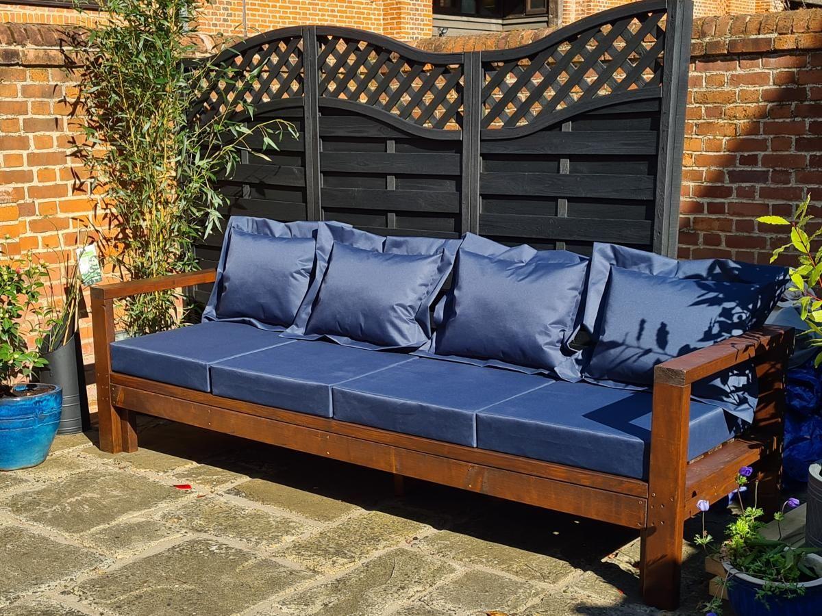 Longer outdoor sofa   Ana White in 16   Outdoor sofa, Porch ...