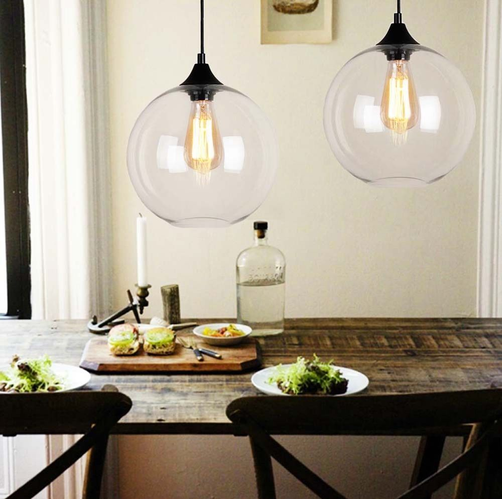 Vintage Industrial Globe Glass Pendant Light Ceiling Lamp