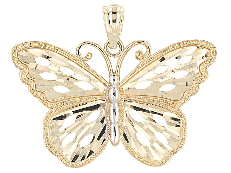10k Yellow Gold And Rhodium Over 10k Yellow Gold Butterfly Pendant Gold Butterfly Butterfly Pendant Butterfly Necklace Gold
