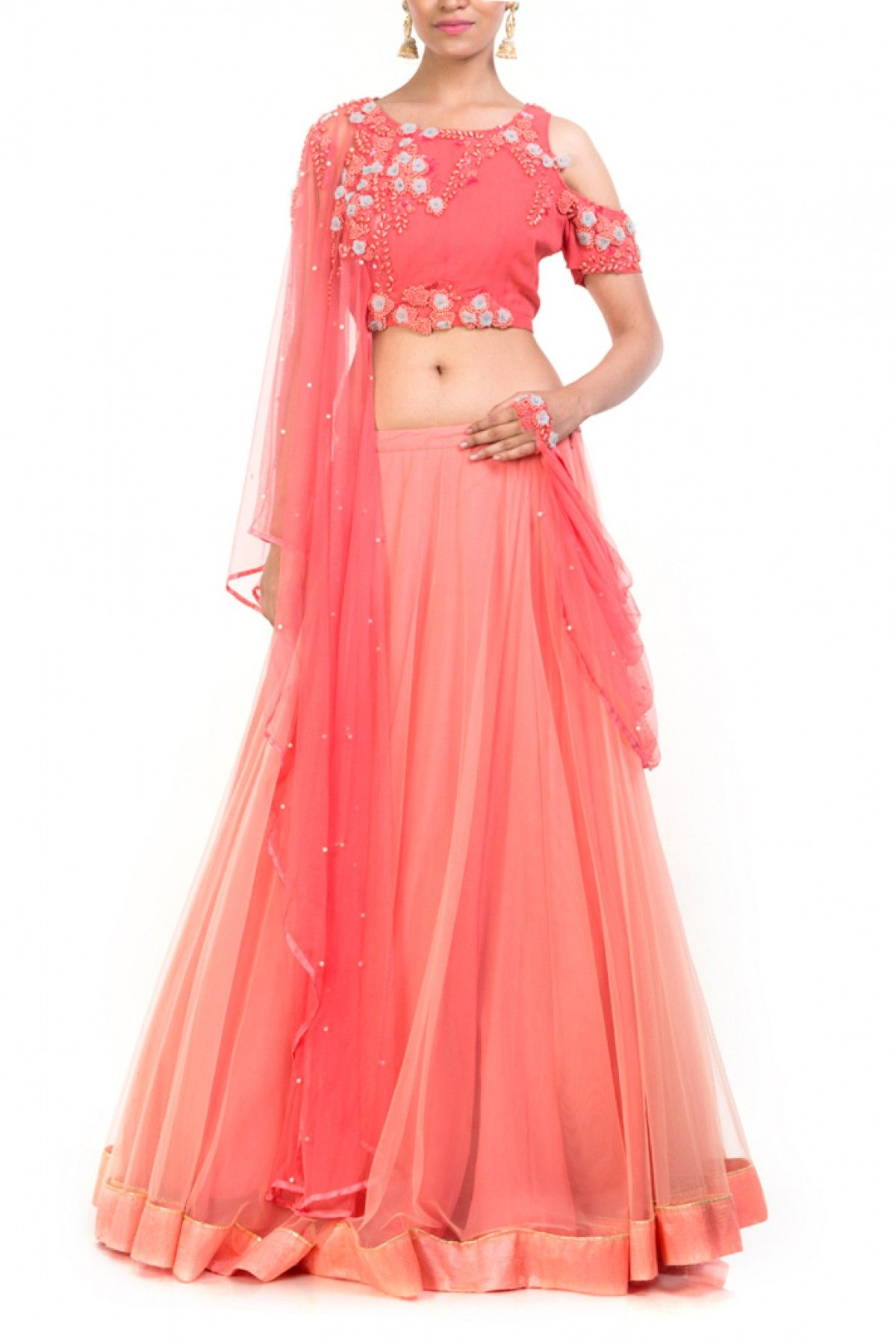 db94f52435 Featuring a pink cold shoulder crop top with a pearl scattered dupatta  attached on the right