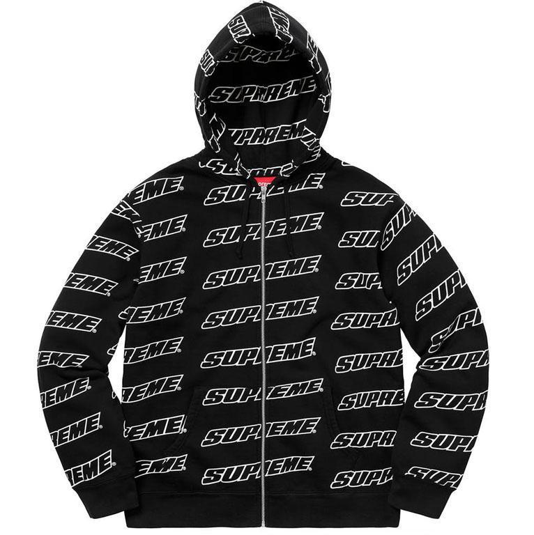 Supreme Repeat Zip Up Hooded Sweatshirt Black | Supreme