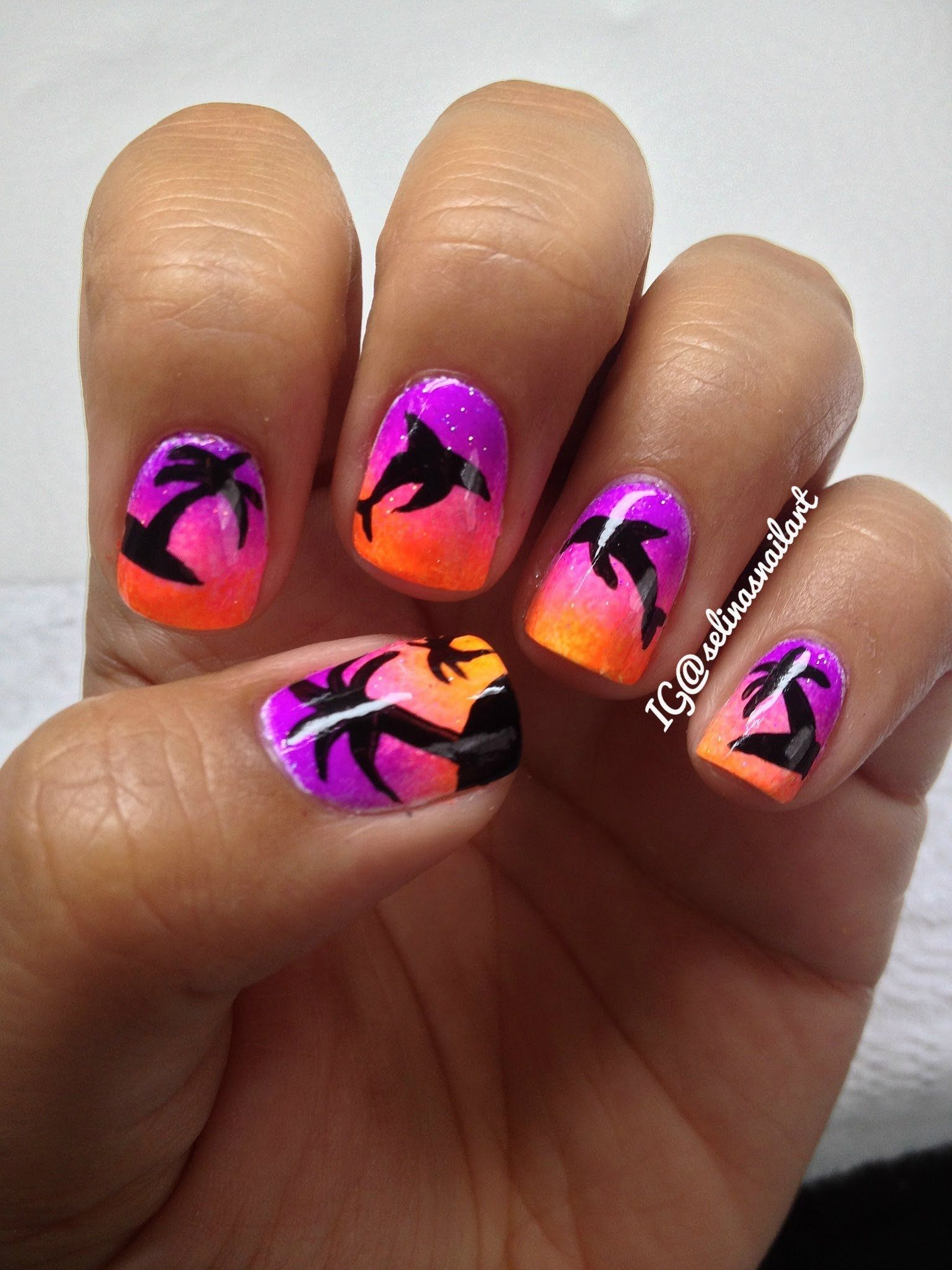 Palm Tree & Dolphin Nail Art Tutorial - Palm Tree & Dolphin Nail Art Tutorial Nails Pinterest