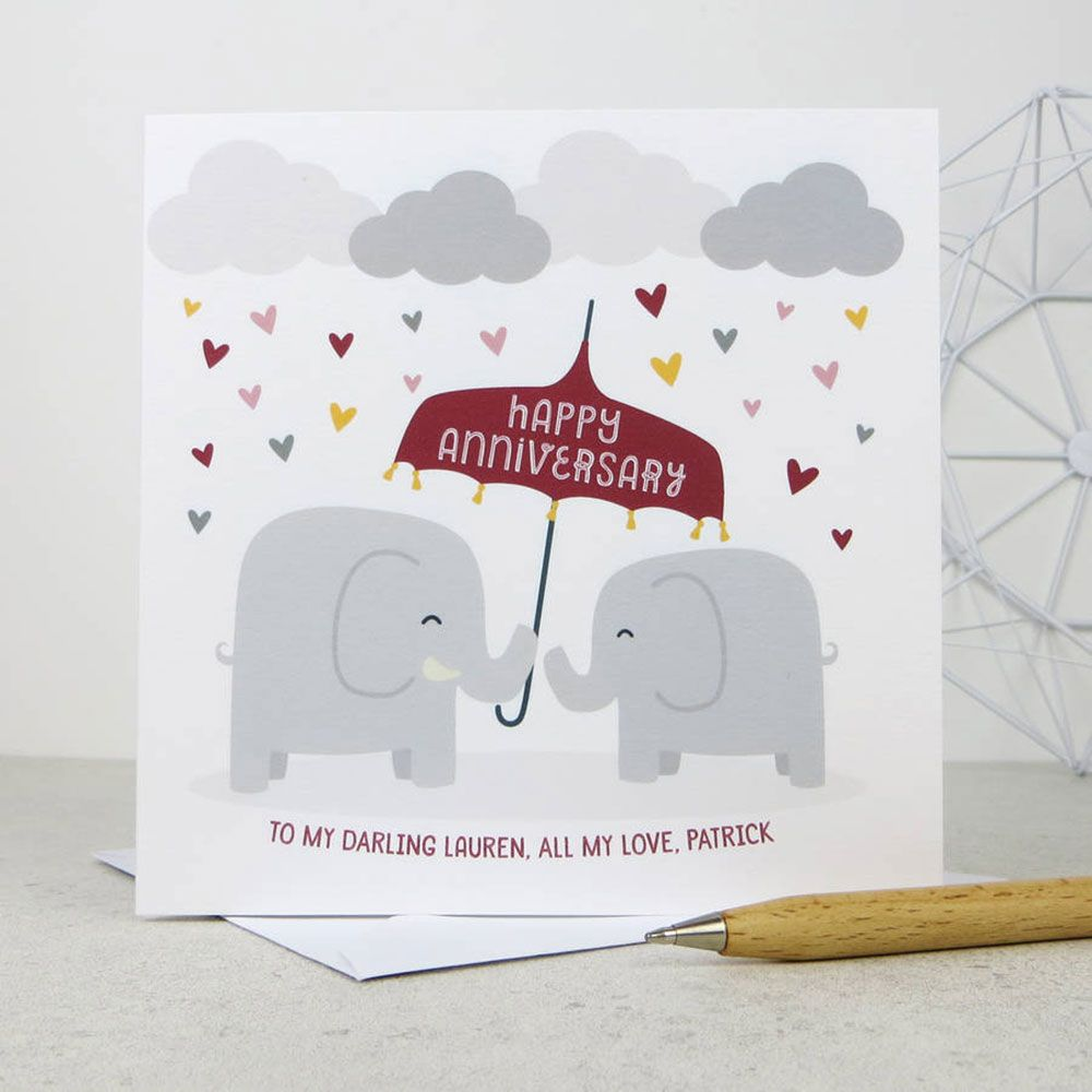 elephants personalised wedding anniversary card template wording happy anniversary card