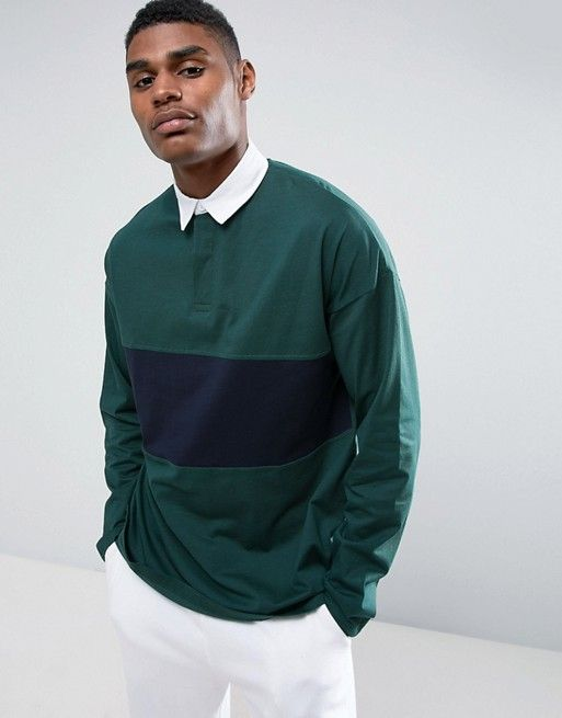 73763a9e Oversized Long Sleeve Rugby Polo Shirt With Contrast Panel | style ...