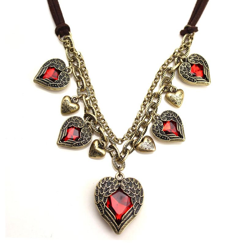 Wings Five Heart-shaped Pendants Necklace  $16.00