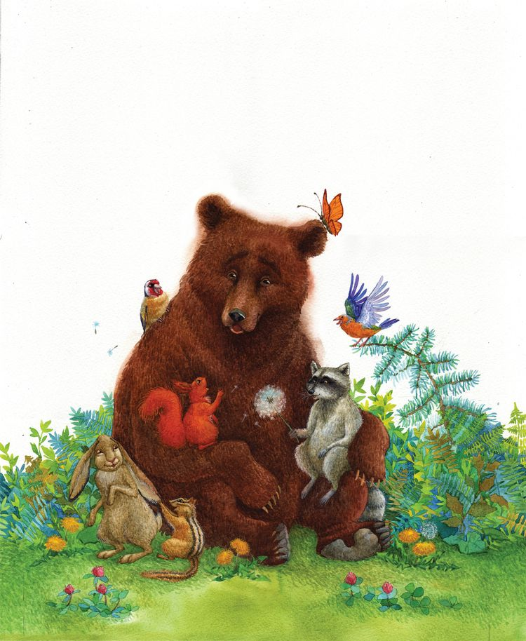 Детские картинки медведь с медвежатами