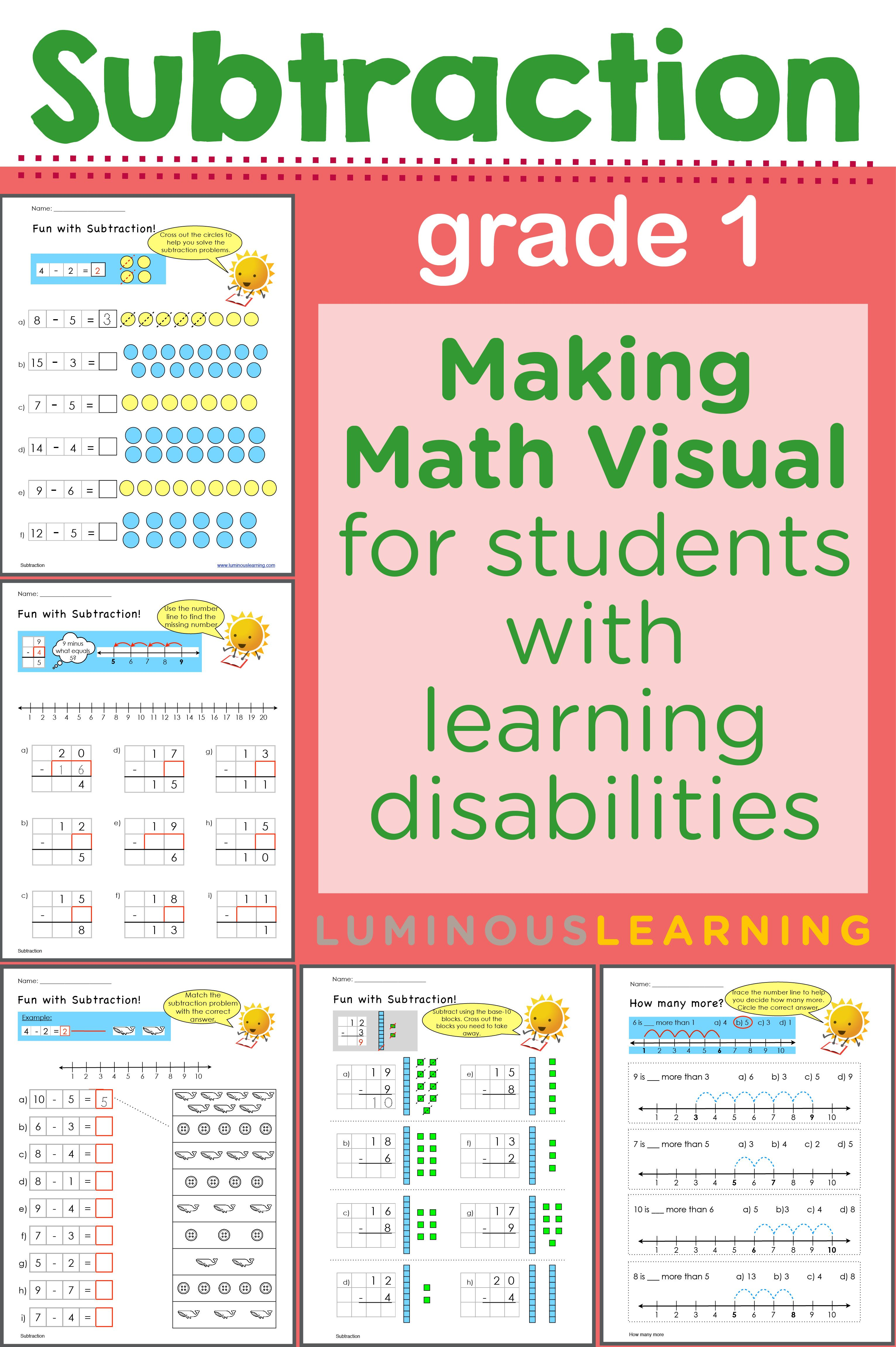 Grade 1 Subtraction Workbook Making Math Visual