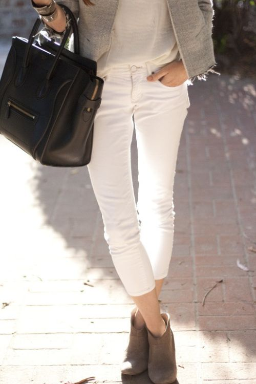 Great spring look for white jeans