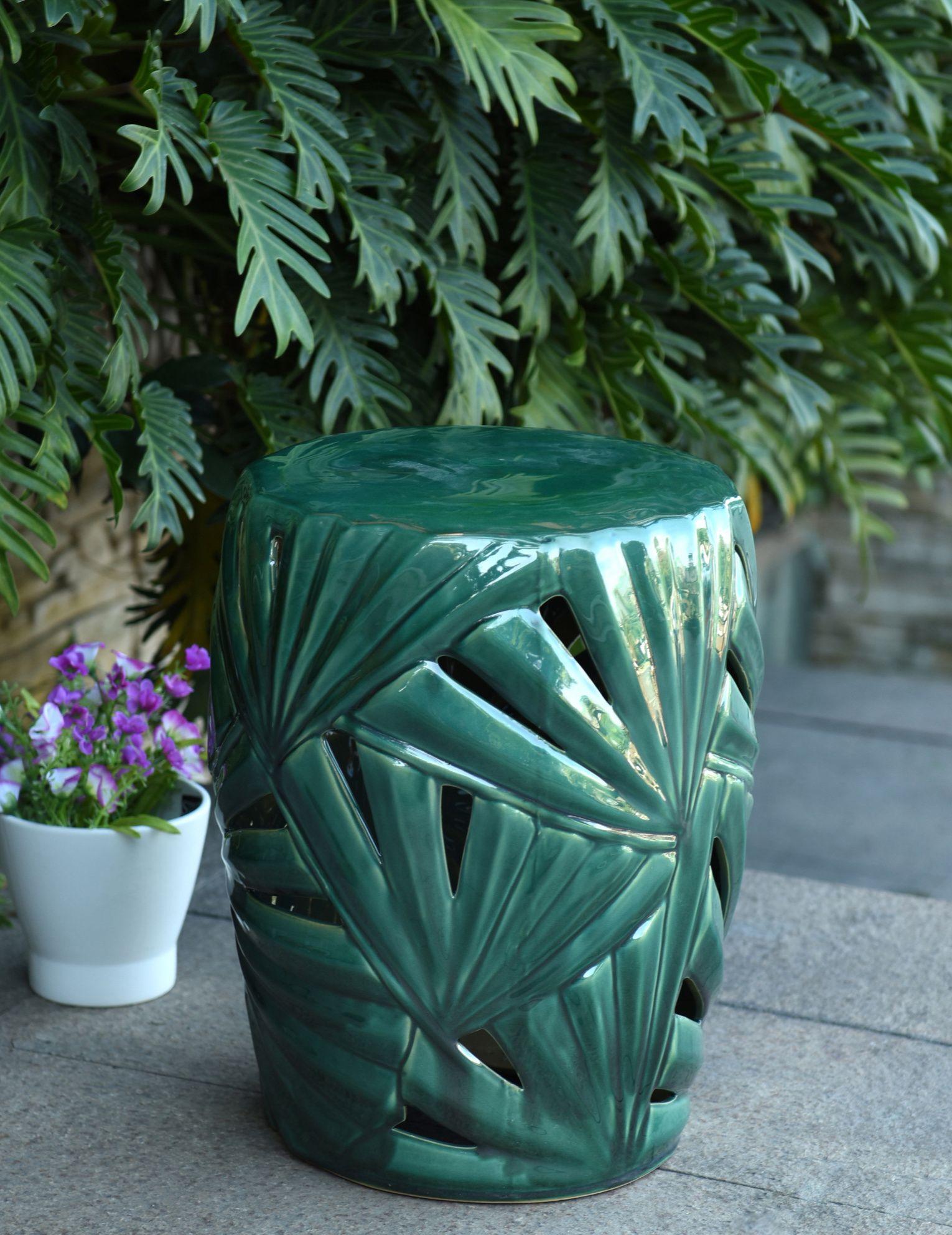 Fine Palm Leaf Ceramic Garden Stool Outdoor Living Ceramic Ncnpc Chair Design For Home Ncnpcorg