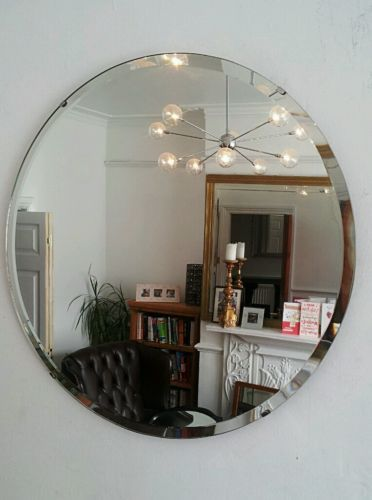 Vintage Beveled Round Circular Mirror Art Deco 1930 S Retro Frameless Antique Ebay Art Deco Mirror Circular Mirror Cute Home Decor