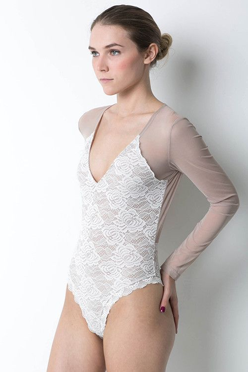 af452eb1a1  CLEARANCE-FINAL SALE  COLOR  White  Nude Sheer Mesh   Lace Sheer back  V-neck Bodysuit design Long sleeves Regular fit True to size Some stretch  to fabric ...