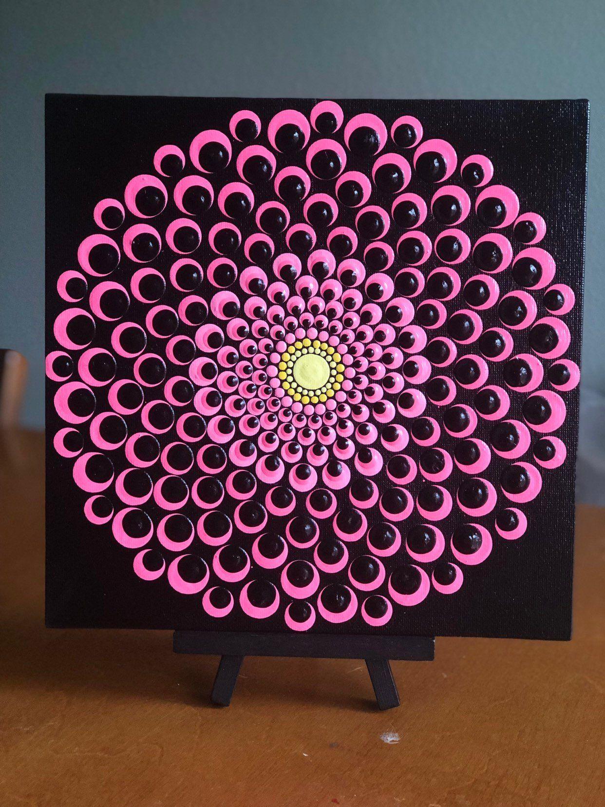 Blooming Dahlia Dot Mandala On Canvas Board 8 X 8 Pink Black Yellow Mandala Rock Art Dot Art Painting Mandala Canvas
