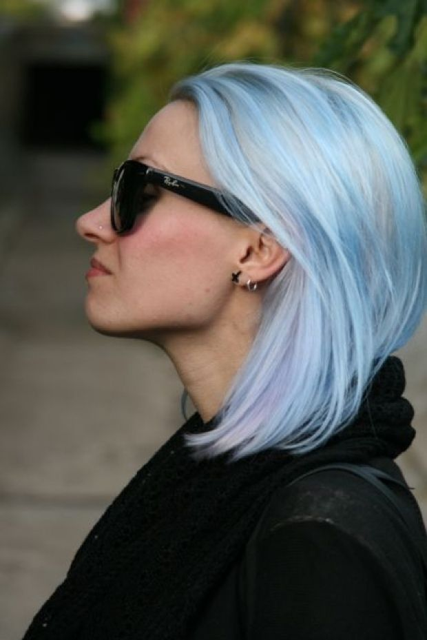 pastel blue and lavender hair