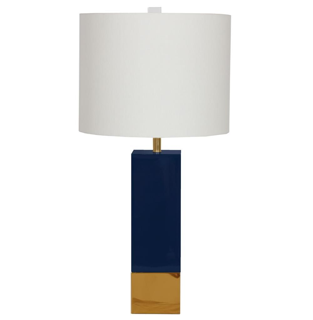Kathy Kuo   Titan Hollywood Regency Gold Navy Blue Square Table Lamp |  Kathy Kuo Home