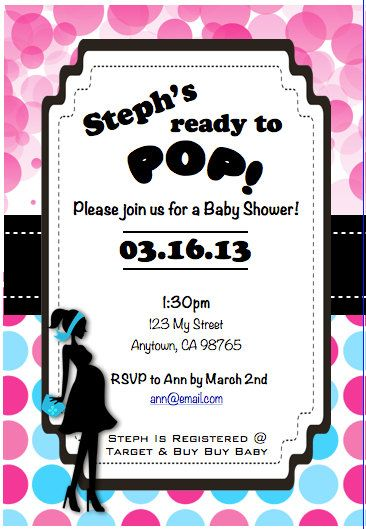Ready to Pop Baby Shower Invitation Printable Matching