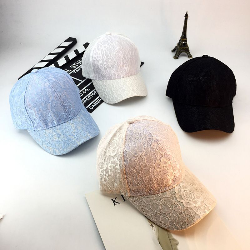 97c084132ad Hot Curved Bill Lace Floral Pattern Strapback Vent Baseball Caps Hats Women  Breathable Champagne Snapback Hats