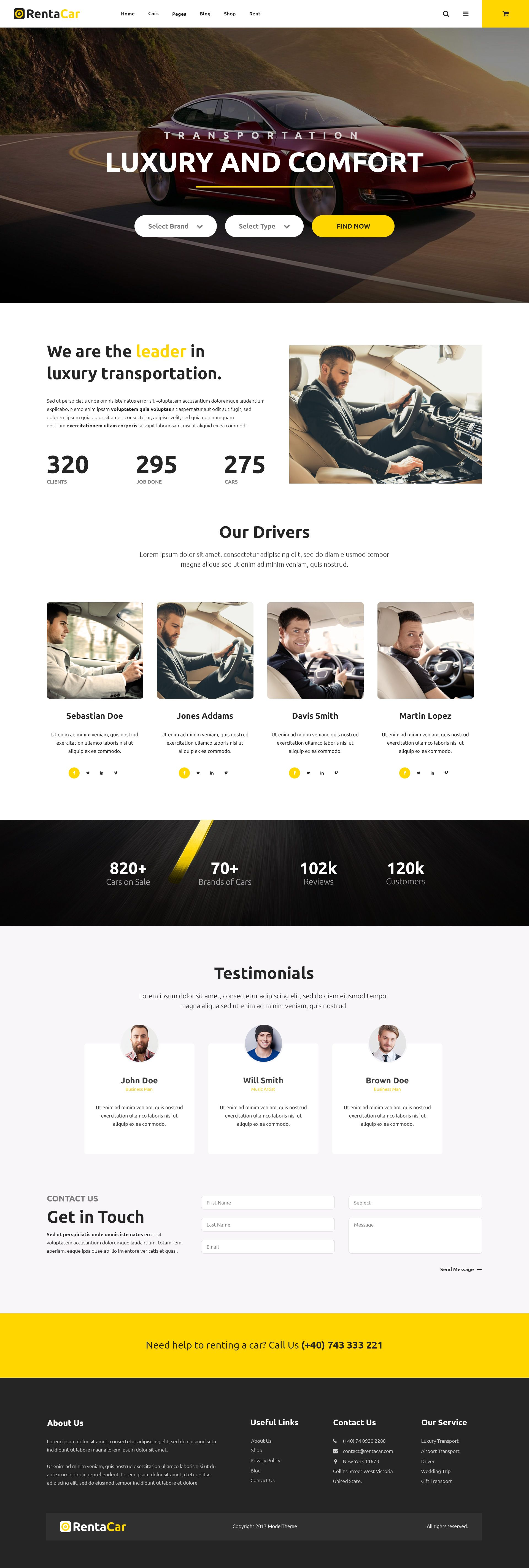 Check out our Luxury Transport Website - Rentacar theme by ModelTheme