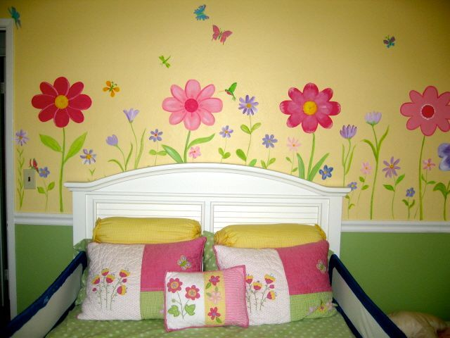 Bedroom Flowers Girls Room Mural Kid Room Decor Purple Girls