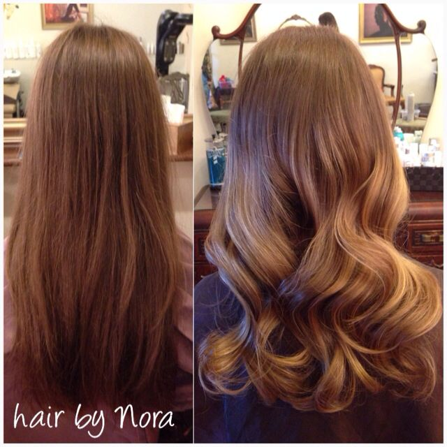 Balayage ombre I did. Before and after picture on virgin hair