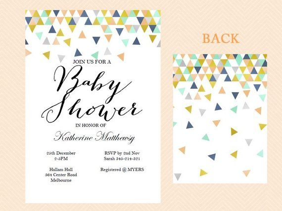 Instant Editable Baby Shower Invitation C And Mint Invite Modern A