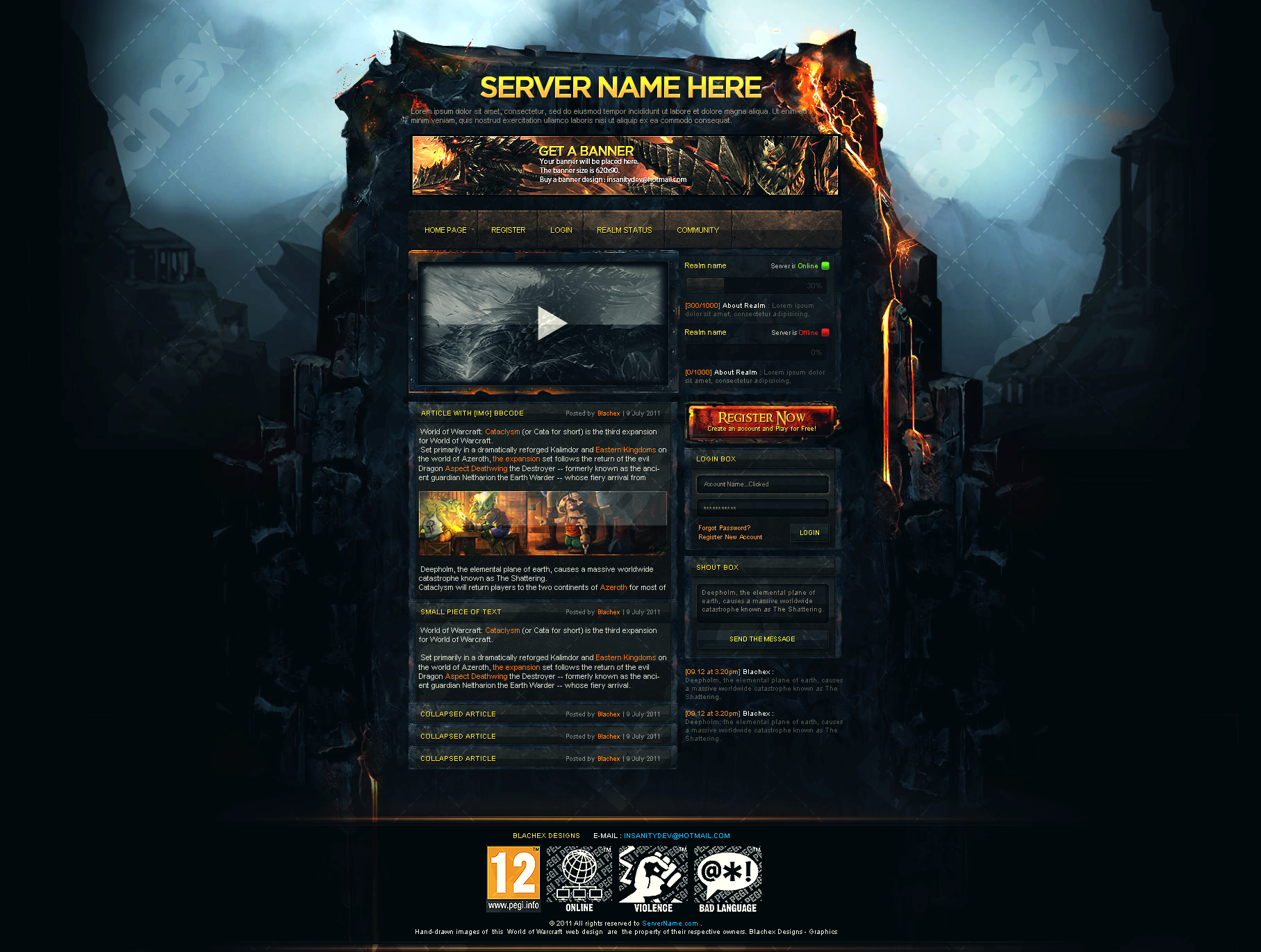 Wow Guild Website Template - Free Download