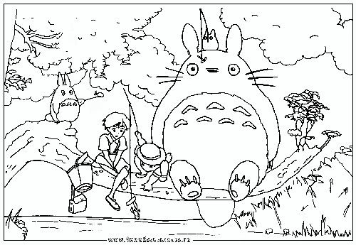 Totoro And Cast Coloring Page Cool Coloring Pages Coloring Pages Colouring Pages