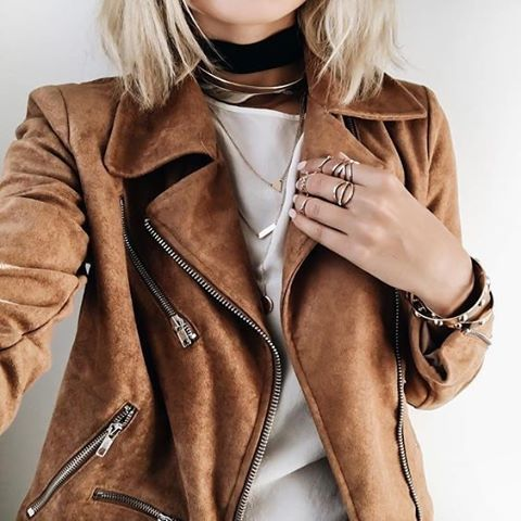 A suede moto jacket will take your look to the next level ...