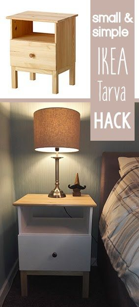 Small Simple Ikea Tarva Bedside Table Hack Bedside Table Ikea Ikea Bedside Bedside Table Diy