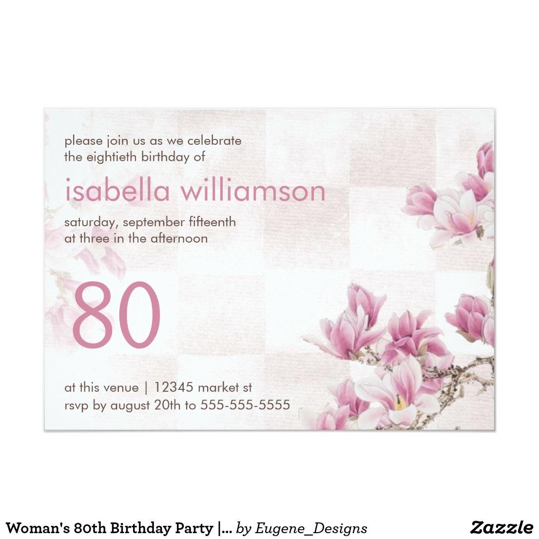 Woman's 80th Birthday Party Mauve Magnolias Invitation