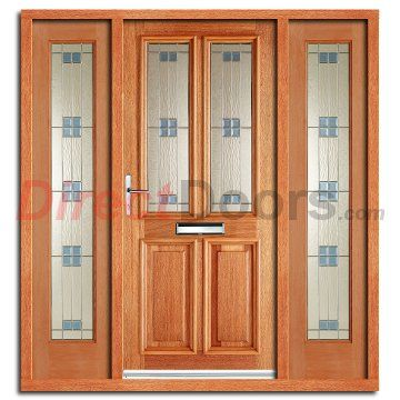 Derby Regal Exterior Hardwood Door And Frame Set With Two Side