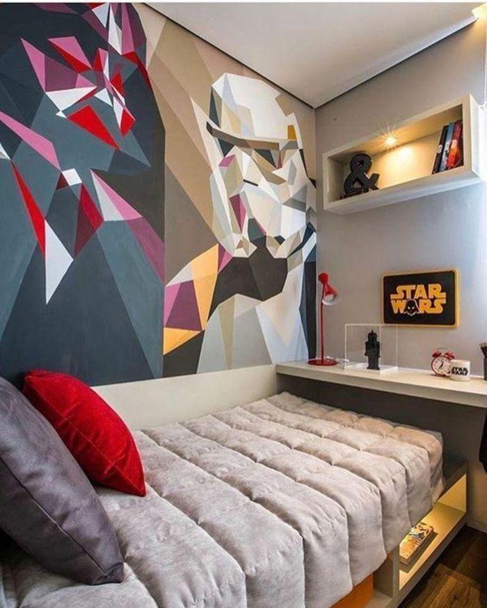 Superieur Deco Chambre Adulte Au Thème Star Wars Enfant Ou Ado Couleurs Pimpantes  Darth Vader Au Mur Peint De Manière Abstraite