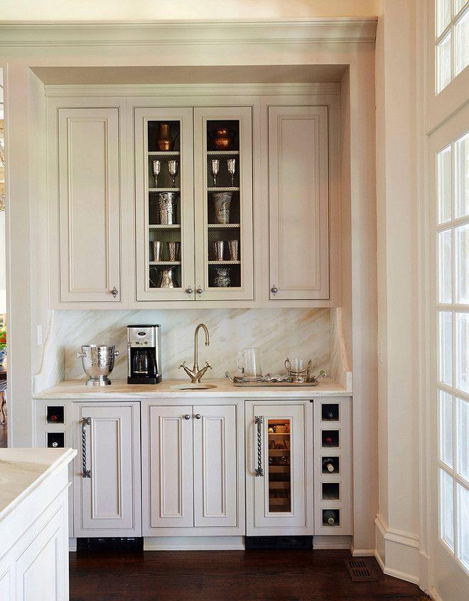 Traditional Off White Kitchen With Brick Backsplash Kitchens