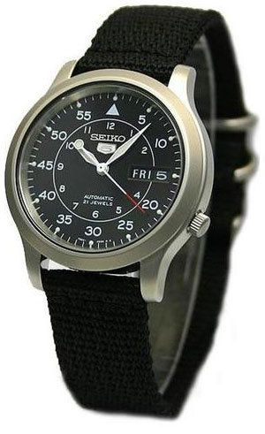 Seiko Men S Stainless Steel Seiko 5 Military Automatic Black Dial Snk809k2 Med Billeder