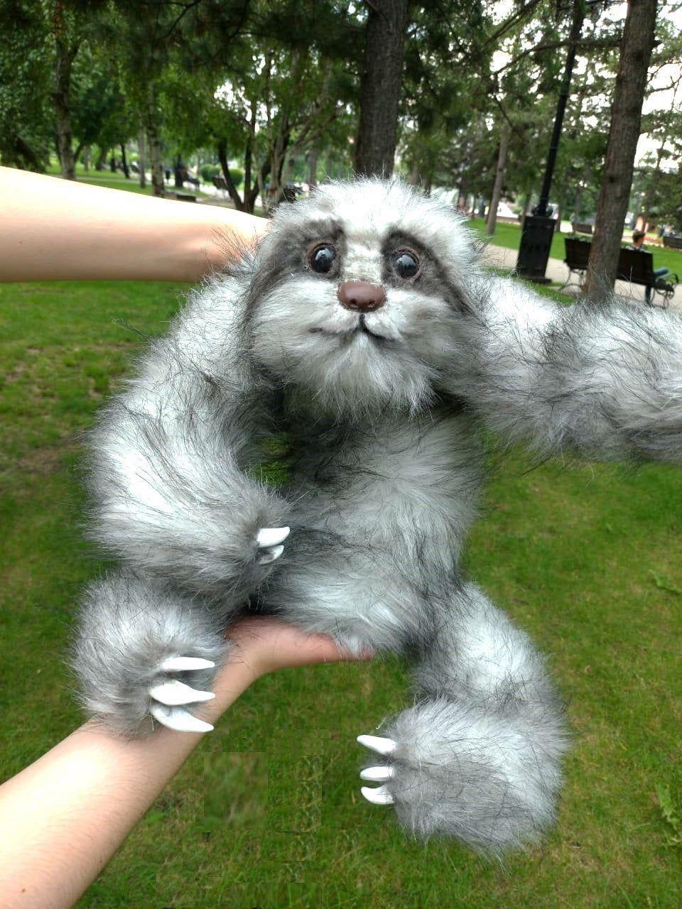 Realistic stuffed sloth. Realistic stuffed animal.Stuffed