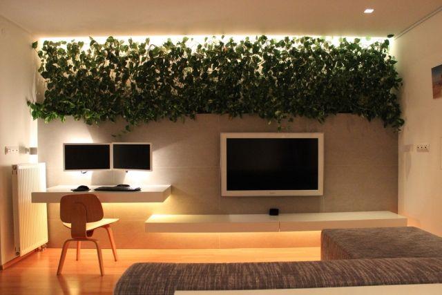 Zimmerpflanzen-Deko kleines wohnzimmer unterbauleuchten pflanzen ...