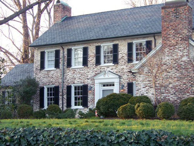 Front Fireplace White Brick House With Black Shutters Google