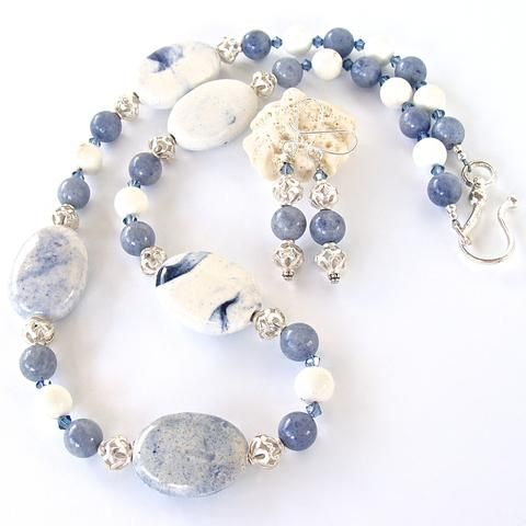 Jonah: Blue and White Necklace Set