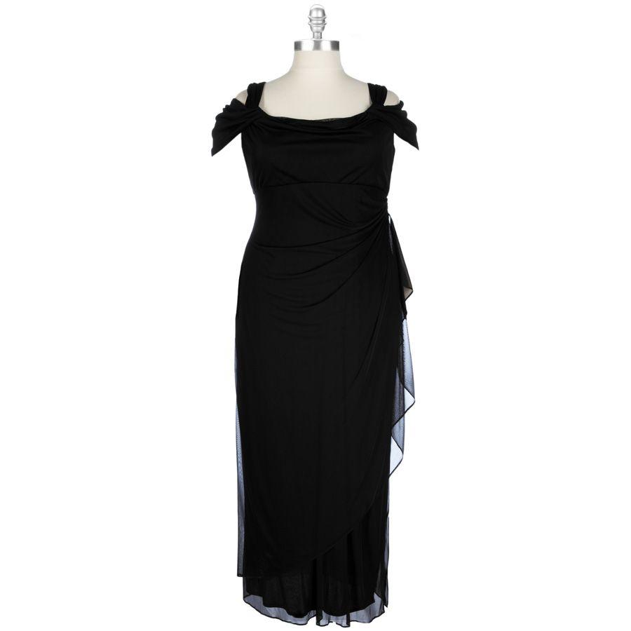 cb50f313657c Wedding guest dresses · Alex Evenings Plus Size Cold Shoulder Mesh Wrap Gown   VonMaur