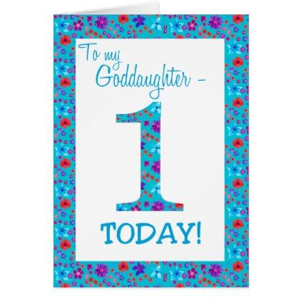 Pretty Floral 1st Birthday Card Goddaughter Blue Pattern Pinterest