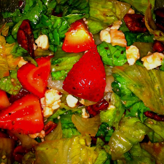 I love a good salad!  Strawberries, baked pecans with butter & sugar, feta & balsamic vinaigrette, yum