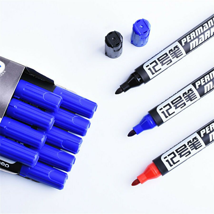 Permanent Marker Pen Black Red Blue Oily Waterproof Office School
